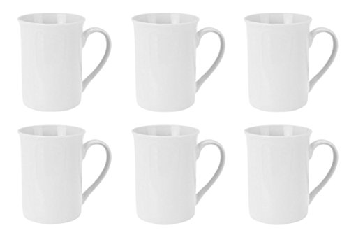 Kaffeebecher Kaffeetasse Porzellan Weiß mit Henkel 6 Stück Set Modell-Auswahl, Modell:280 ml zylindrische Form