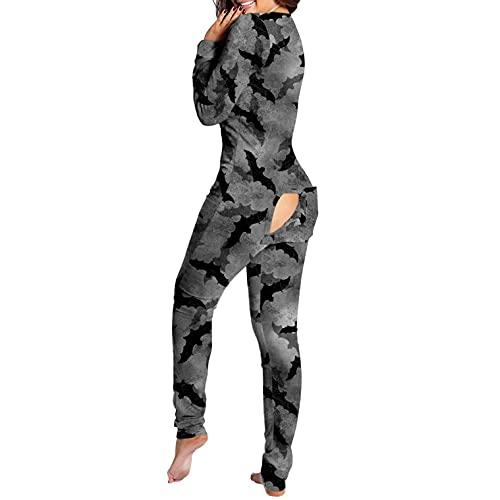 BIBOKAOKE Damen One Piece Onesie Nachtwäsche Sexy Butt Button Back Flap Jumpsuit Pyjamas Bodycon Bodysuit Strampler Halloween Druck Overall Hausanzug Bodycon Funktionale Overall