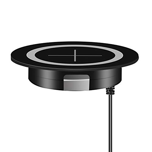 JE Make IT Simple Desk Wireless Charger, Desktop Grommet Power Wireless Charging Pad Compatible with 12/12 Mini/12 Pro Max/SE 2020/11/XR, Galaxy Serie and All Enabled Phones