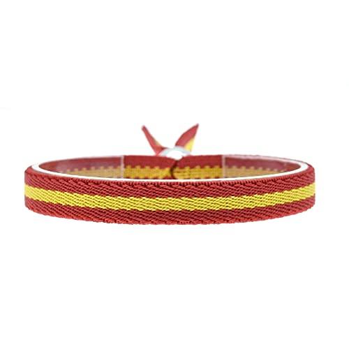 BDM Pulsera con la Bandera de España, Cinta elástica para Hombre y Mujer, Ajustable con Cierre en Forma de Bola y Color plaata.