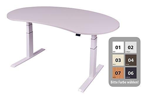 Dila GmbH Schreibtisch Höhenverstellbar Elektrisch Ergonomisch Arbeitstisch | Breite: 180cm | Nierenform, Gestell Weiß | Profi-Qualität (Weiß)