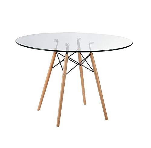 ZOLTA Glastisch Tischplatte Runder Esstisch Buchenholz Esszimmer Tisch Küchentisch Wohnzimmertisch, 80 * 77 cm, 4 Beine Naturholz, Transparent