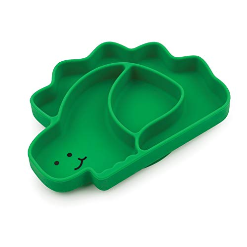 Bumkins Suction Silicone Baby & Kid Grip Dish, Dinosaur