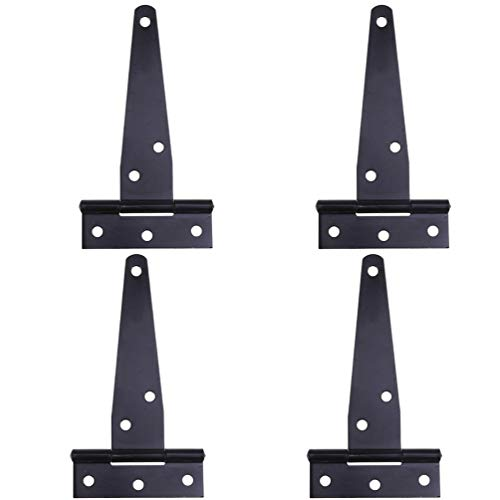 Cabilock 4Pcs T Shape Hinges Iron Heavy Duty Door Hinges Gates Hinges Rustproof Cabinet Shed Hinge for Office Home (Black 12 Inches)