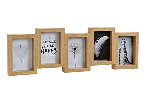 Living-chic Holz Bilderrahmen Fotorahmen für 5 x (10x15cm) Fotos aus Holz, mit Glasscheiben Frabe braun (B/H/T) 59x21x4cm Hochformat Fotogalerie Collage Fotocollage Bildergalerie Fotorahmen