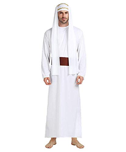 Talla única - Disfraz de jeque musulmán árabe para Hombre Adulto - niño Disfraz Carnaval Cosplay de Halloween - Color Blanco