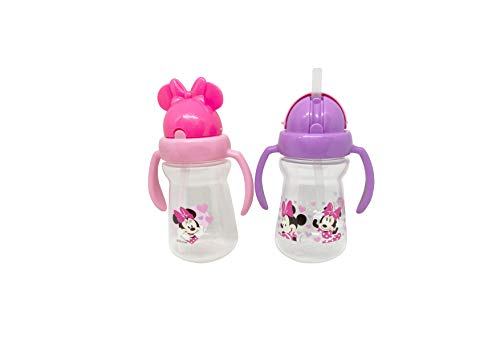 Disney Cudlie Minnie Mouse Baby Girl 2 Pack of 6 Oz Sippers Handles Pop Up Straw Character Molded Lid in Pink & Purple