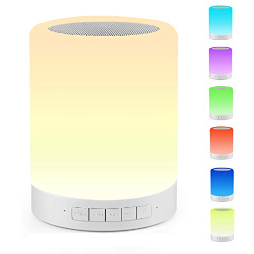 Touch Bedside Lamp Ourikamo Night Light Bluetooth Speaker Rechargeable Dimmable Touch Lamp with 7 Colors LED Table Lamp Best Gifts for Women Men Kids Bedroom Sleeping Aid