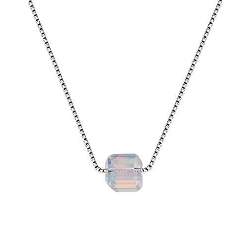 Gxiang Geométrico Collar Cuadrado terrón de azúcar Diamante Colgante de joyería Breve sección Coreana clavícula Cadena de Aurora Rubik