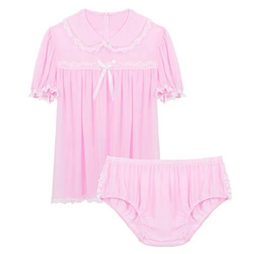 iiniim Herren Nachthemd Sissy Nachtkleid mit Sissy Panties Bikini Briefs Männer Pyjama Schlafanzug Dessous Unterwäsche Set M-XXL Rosa L