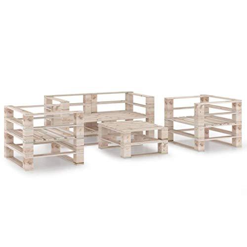 FAMIROSA Juego de Muebles de jardín de palets 5 Piezas Madera de Pino (116,64kg)