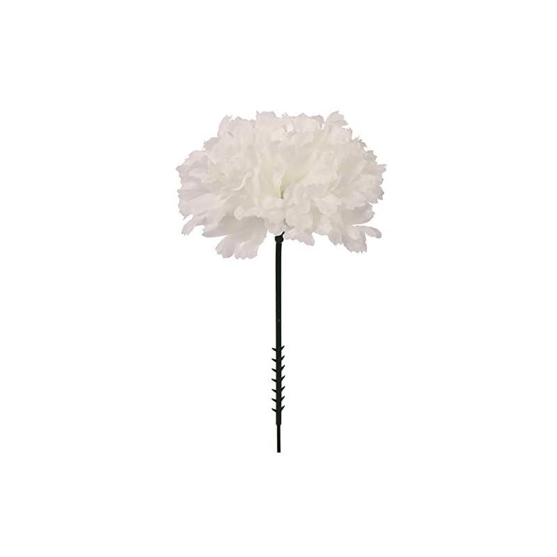"silk flower arrangements larksilk 50 count white carnation picks, 3.5"" carnation heads, detachable flexible 5"" stems, great for wedding work, baby showers & bridesmaid bouquets, silk artificial flowers"