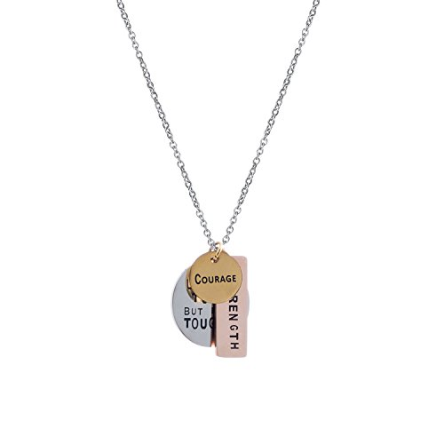 Fervent Charm Necklace [Love - Courage - Strength] Inspirational Tri-Toned Stamped Plates on Link Chain Necklace