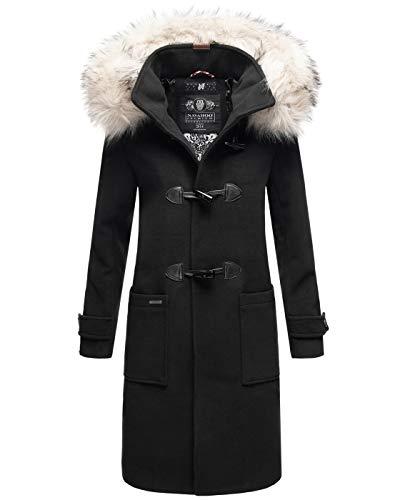 Navahoo Damen Mantel Trenchcoat Wintermantel Kapuze Kunstfell Parka Lang B822 [B822-Oksan-Schwarz-Gr.XL]