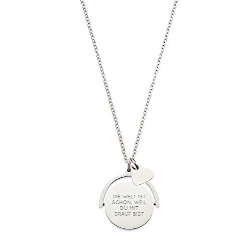Nickelfreie Spruchkette Love Duet in Sterling-Silber Legierung 80 cm mit Charm Herz. Spruch auf beiden Seiten: Die Welt ist schön, in Geschenkebox