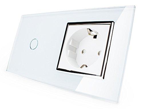 Dimmer Lichtschalter / Steckdose Glas in Weiß VL-C701D-11/ VL-C7C1EU-11