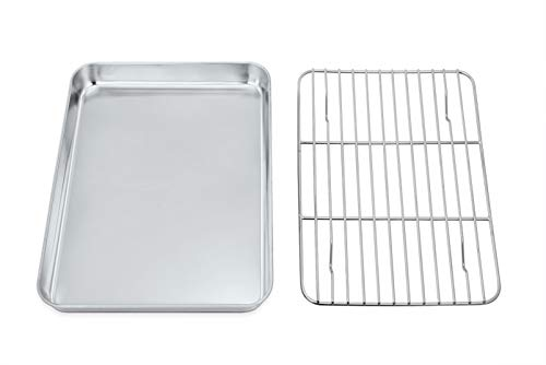 P&P CHEF Toaster Oven Tray and Rack Set, Stainless Steel Baking Pan with Cooling Rack, Fit Your Small Oven & Single Person Use, Non Toxic & Easy Clean