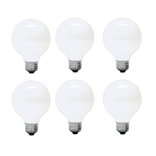 GE 12982-6 G25 Incandescent Soft White Globe Light Bulb, 25-Watt, 6-Pack