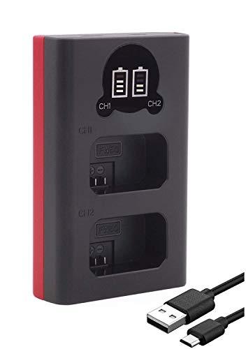 Baxxtar 1851 - Compatible con la batería Sony NP-FW50 - Mini Cargador - Doble/LCD/Entrada USB-C o Micro-USB