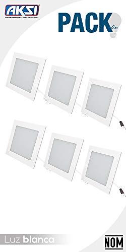 LUMINARIO LED EMPOTRABLE AKSI (LUZ BLANCA CUADRADO, 6 W), Ilumina 400 lm, Consume 6W (vatios), 100V-240V, Base Cuadrada 11.8x11.8 cm, LUZ BLANCA 6500K, Línea Eco - PACK de 6 focos