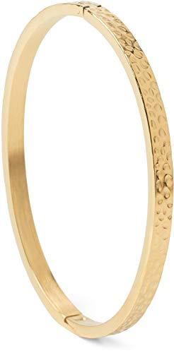 styleBREAKER Damen Edelstahl Armreif mit gehämmerter Oberfläche, Clipverschluss Armband, Schmuck 05040170, Farbe:Gold