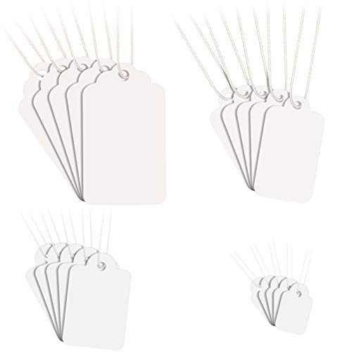 1300 Pieces White Price Tags with String Marking Strung Tags Blank Paper Tags with Hanging String Writable Display Label for Product Jewelry Clothing Tags, Size Combination