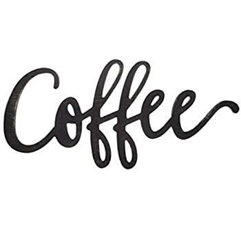 20  Slightly Distressed Black Wooden Coffee Word Sign Wall Art Decor