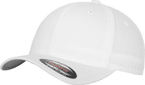 Flexfit Unisex Baseball Cap Wooly Combed, Kappe ohne Verschluss für Herren, Damen und Kinder, Farbe white, Größe S/M