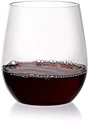 Circleware 44581 Stemless Wine Glasses 4-Piece Drinking Glassware Set, Fun Party Entertainment Dinin