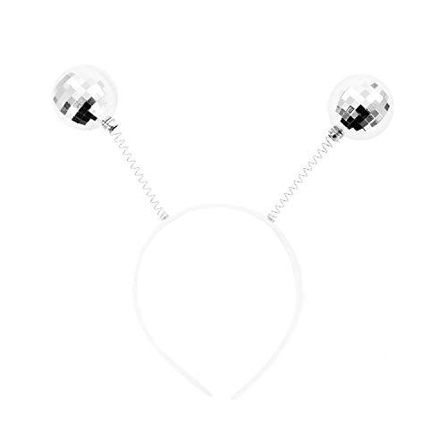 Oblique Unique® Haarreifen mit Glitzer Wackel Antennen Kugeln Bommeln Discokugel Haarreif Kostüm Accessoire für Fasching Karneval (Silber)