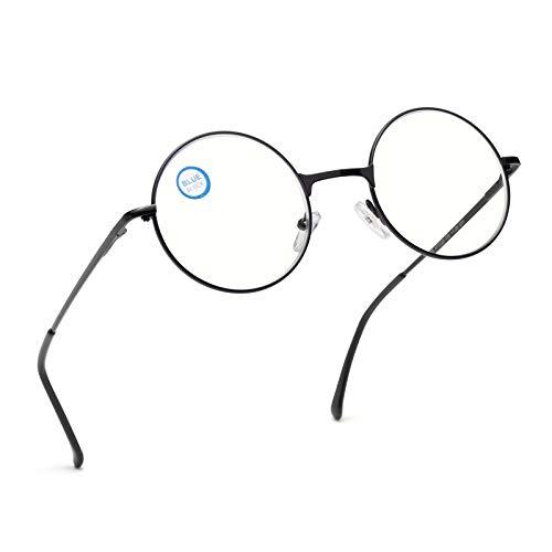 Amorays Occhiali da lettura stile vintage rotondi Lettori con blocco della luce blu Occhiali da vista John Lennon con montatura circolare in metallo anni '80 / '90