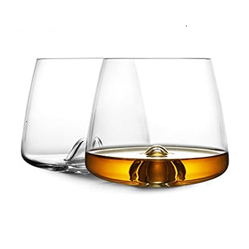Yuanyuan Diseñador WhiseDy Swirl Whisky Rock Glass Verre Whisky Tumbler XO Chivas Cognac Brandy Snifter Tinto Vino Beber Gafas Taza (Capacity : 300ml 13oz, Color : 2 Pcs)