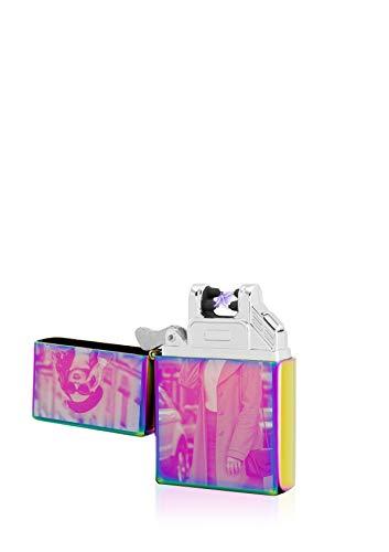 TESLA Lighter T03 Lichtbogen Feuerzeug Elektronisch, mit Foto-Gravur, personalisiert als Geschenk zu Weihnachten, Geburtstag etc. wiederaufladbar per USB inkl. Geschenkverpackung Regenbogen