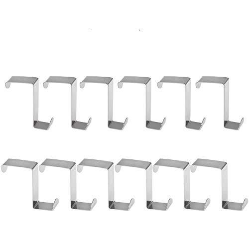 Bestomz - Colgador para puertas con forma de Z, de acero inoxidable, para toallas y albornoces, 12 unidades