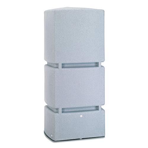 Regentonne eckig Regenwassertank Jumbo 800 Liter granit grau aus UV- und witterungsbeständigem Material. Frostsichere Regenwassertonne bzw. Regenfass Wandtank mit hochwertigen Messinganschlüssen
