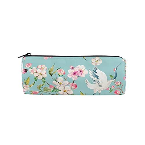 JNlover - Estuche de lápices japonés, diseño de flor de cerezo y grúa, estuche redondo para papelería, bolsa de maquillaje para adolescentes, niños, oficina