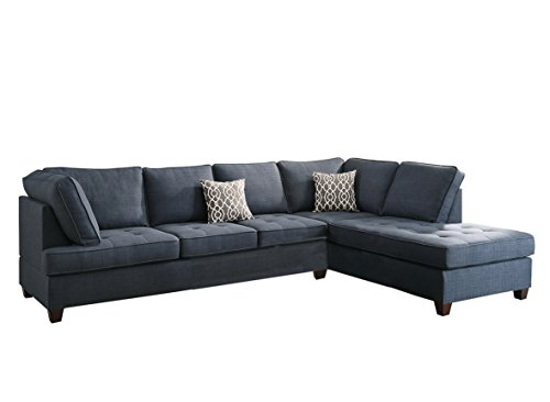 Poundex Bobkona Kemen 2-Pieces Sectional Sofa | Linen-Like Polyfabric Left or Right Chaise | F6989 model | Blue color