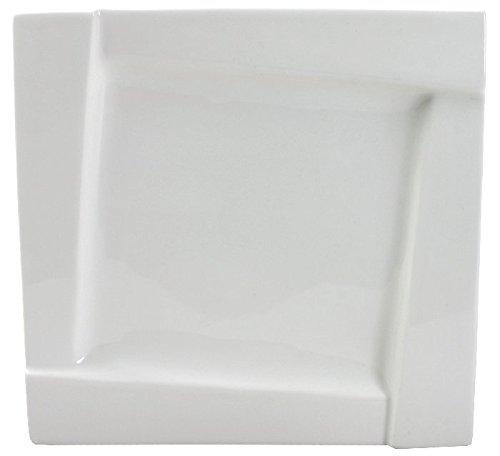 AMBITION Talerz obiadowy Kubiko 25 cm kwadratowe naczynia ze szkła hartowanego talerz talerz talerz talerz płaski zestaw prezent nowoczesny elegancki biały
