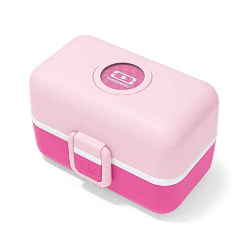 monbento - MB Tresor rosa Litchi Fiambrera infantil con divisor. - Bento Box Kids con compartimentos. - Personalizable. - Snack Box