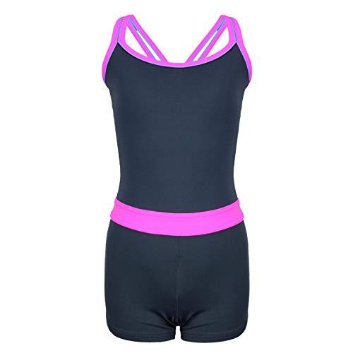 Aquarti Mädchen Badeanzug mit Bein Racerback, Farbe: Grau/Pink, Größe: 146
