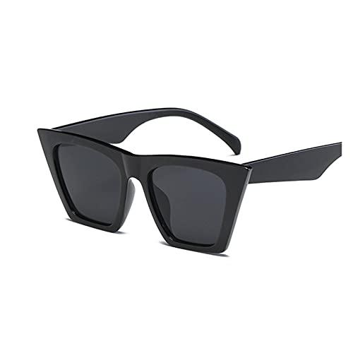 Gafas de sol de ojo de gato negro de moda para mujer, gafas de sol atractivas y elegantes para mujer, con revestimiento de sombras UV400 (color: negro)