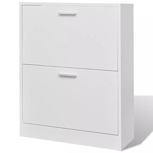 FZYHFA Meuble à chaussures blanc avec 2 compartiments 63,5 x 24 x 81 cm, étagère à chaussures