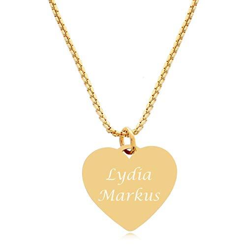 Timando Damen Kette mit Herz Anhänger Herzkette mit Wunsch-Gravur personalisierte Namenskette in goldfarben