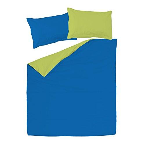 SoulBedroom Bleu foncé & Vert 100% Coton Parure de lit Réversible (Housse de Couette 260x220 cm & 2 Taies d'oreiller 50x75 cm)