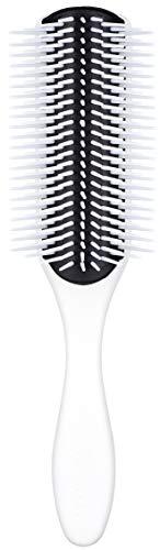 Denman Haarborstel D4 (lange haarborstel), voor het stylen en gladmaken van lange haren, antistatisch rubberen kussen en nylonharen, 7-rijen, wit/zwart