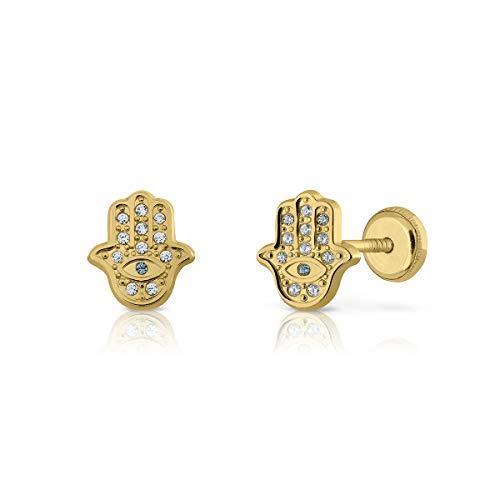 Orecchini oro 18 kt bimba/donna, modello mano arabe hansa con pietre incastonate, misura del gioiello 8 x 6 millimetri, con chiusura a vite di massima sicurezza.