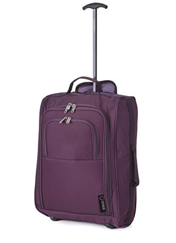 Maximum Airline Allowance Carry On Hand Luggage | Wheeled Travel Bag Lightweight Small Soft Trolley for Men & Women | Approved by Delta, United, Southwest & Many More (Plum)
