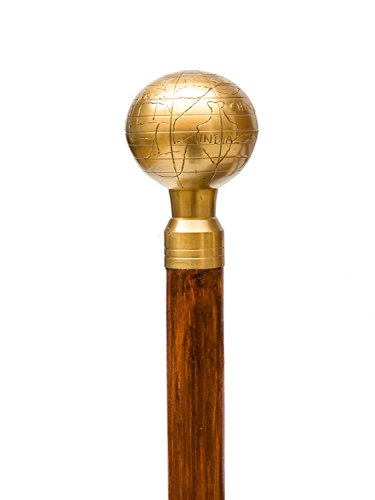 Caña de globo de tierra bastón de madera bastón mango de oro