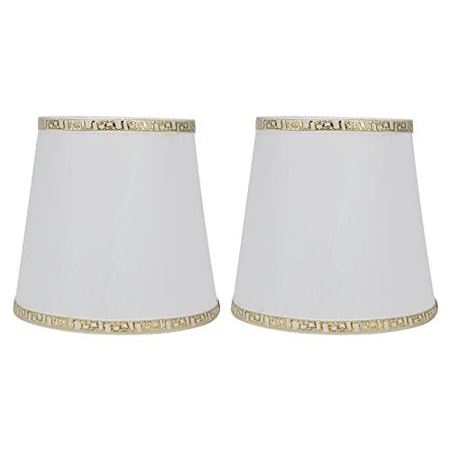 Cubierta De Tela para Lámpara, Pantalla Sedosa Blanca con Borde Dorado Pantalla De Lámpara De Araña Buena Transmisión De Luz para Bombillas E14 para Dormitorio para Estudio