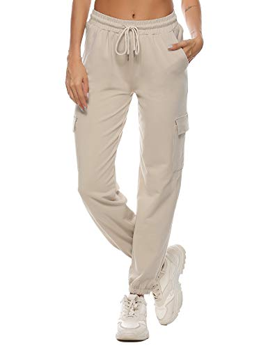 Doaraha Pantalones Deportivos Mujer Algodón Pantalón de Chándal Largo Elásticos Transpirables con Bolsillos Laterales para Deporte Gimnasio Fitness Correr S-XL